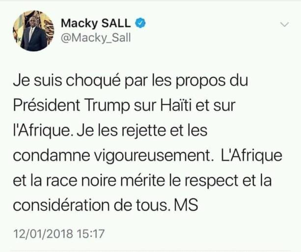 Le tweet de protestation du président Macky Sall à l'endroit de Trump