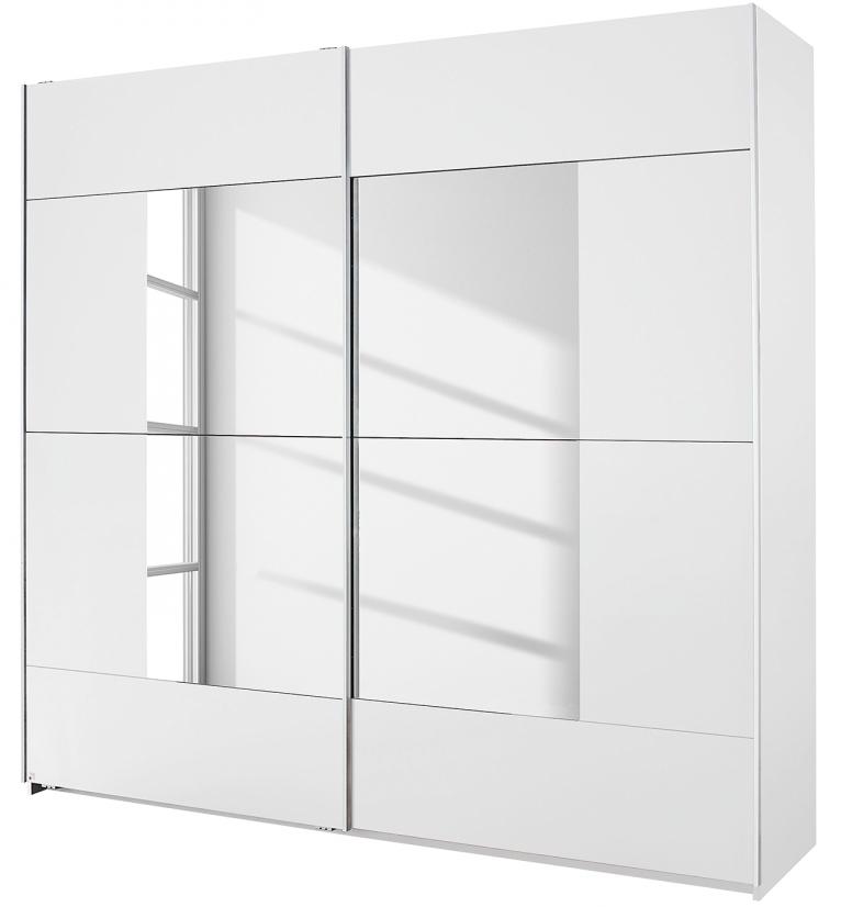 armoire 2 portes coulissantes blanches avec miroir milato