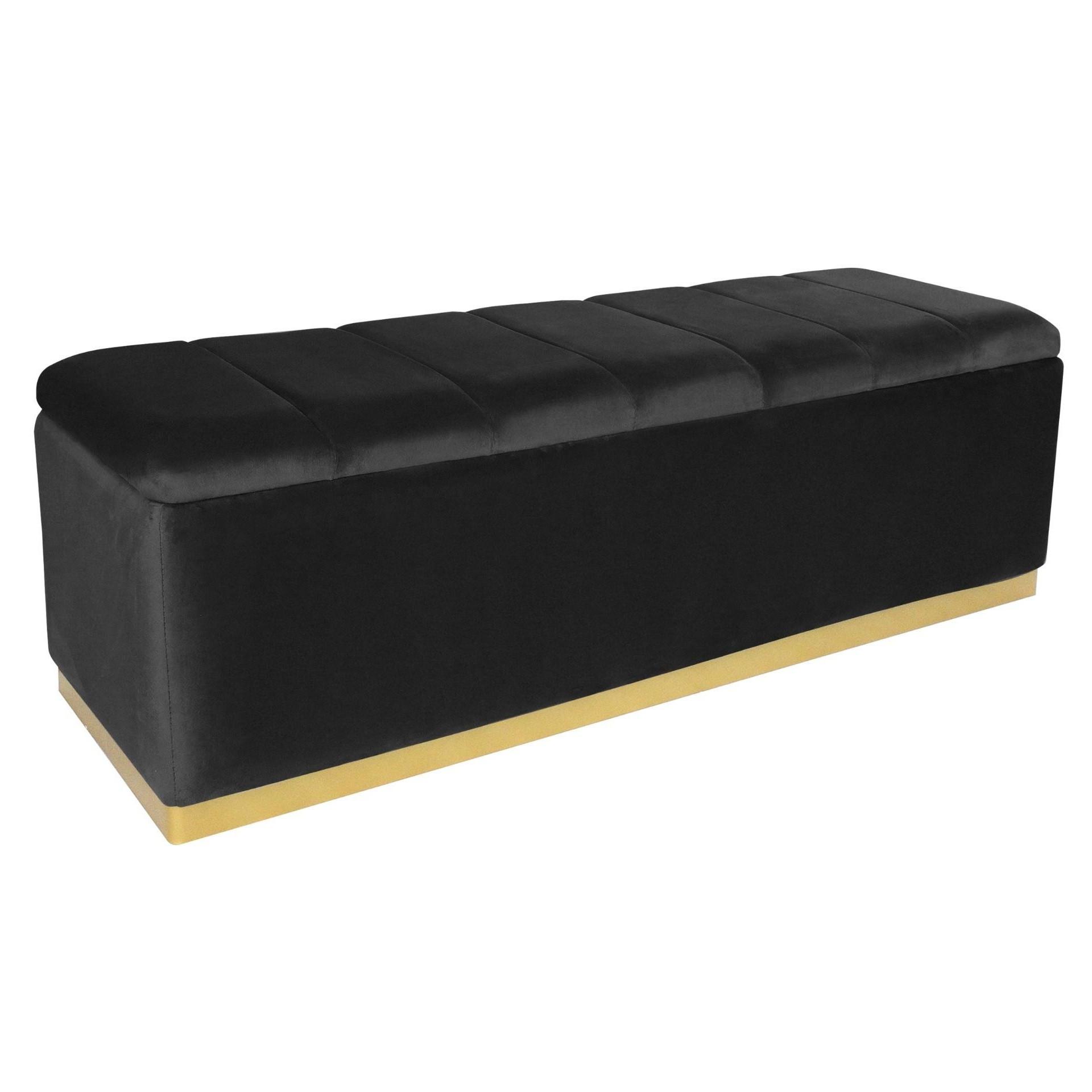 banquette coffre velours noir et pied metal dore enya