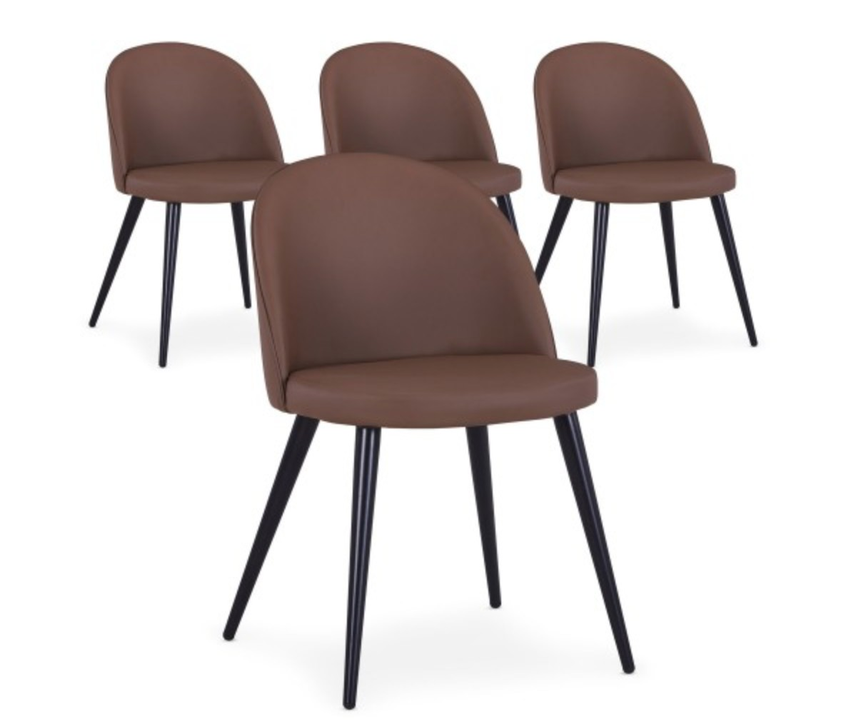 chaise scandinave simili cuir marron scary lot de 4