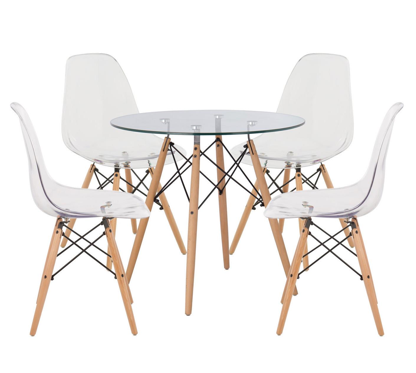 ensemble table ronde 80 cm et 4 chaises bois naturel et transparent bistrol