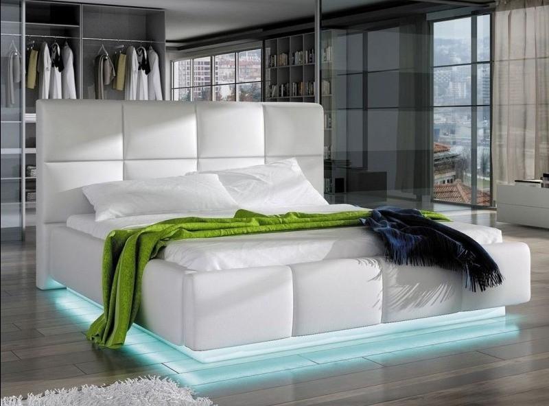 lit capitonne avec sommier relevable simili blanc louka 140