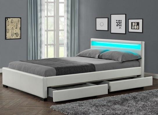 Les Tendances Lit Design Blanc Led Sona 160