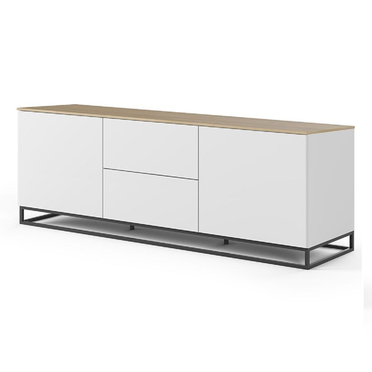 meuble tv bois blanc et chene pieds metal noir jonath 180 cm
