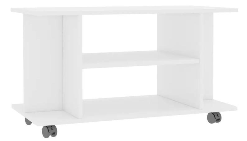 meuble tv sur roulettes bois blanc brillant java