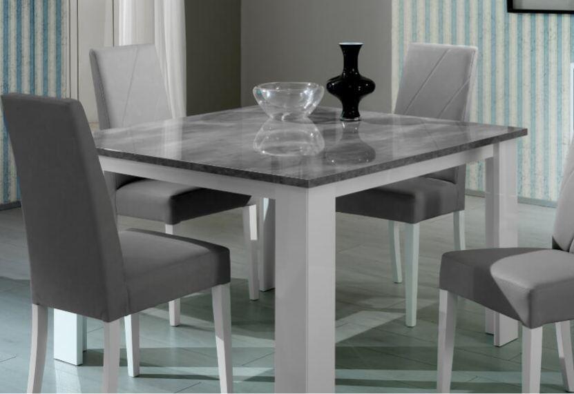 table a manger carree bois brillant gris et blanc sting