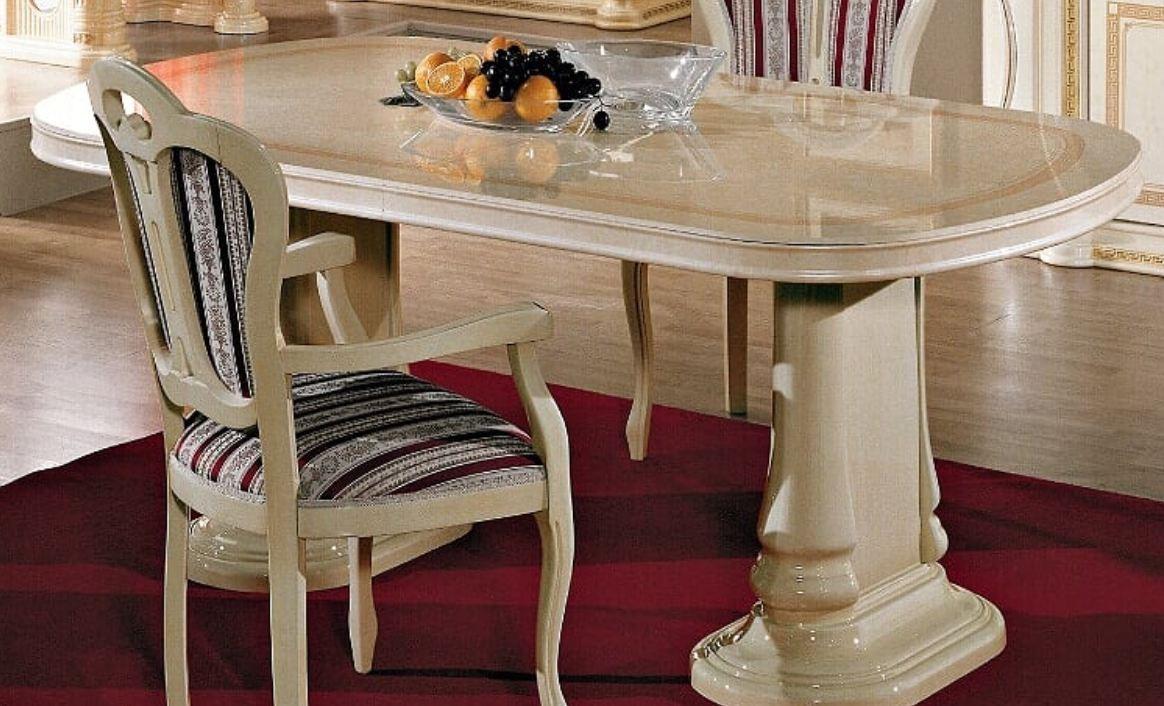 table a manger ovale extensible bois laque beige effet marbre irina