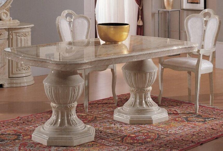 table a manger ovale extensible bois laque beige effet marbre leslie