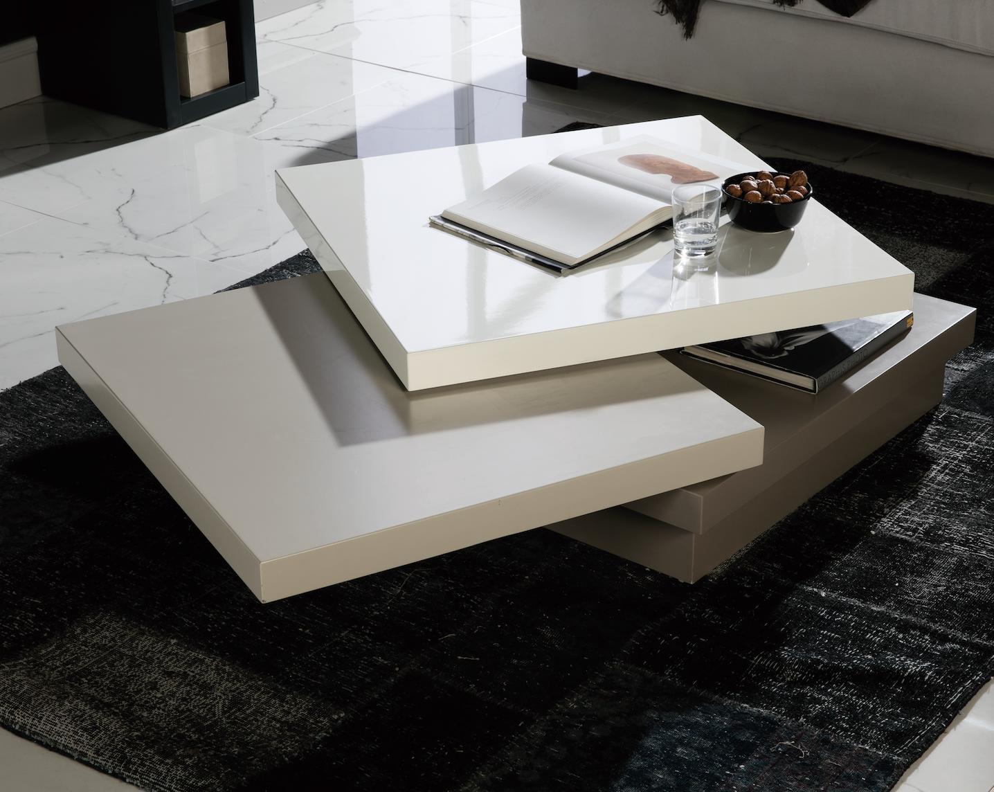 table basse carree pivotante laque blanc gris et taupe matiss