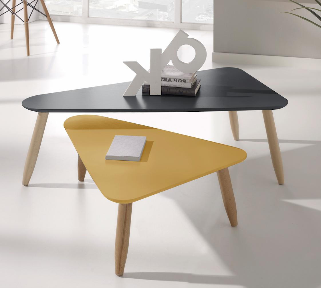 Table Basse Gigogne Triangulaire Laque Gris Et Moutarde