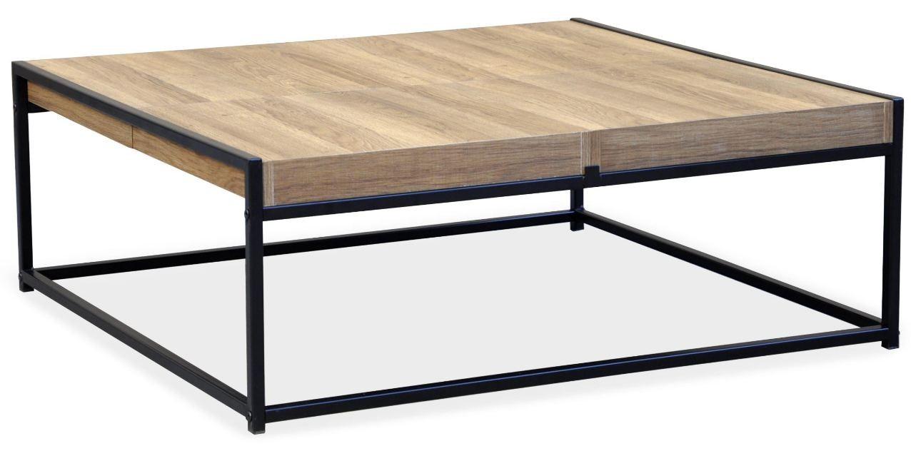 table basse reversible chene fonce et metal noir doumy