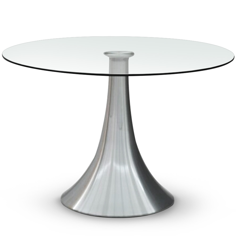 table ronde verre et pied metal chrome tassia 120 cm