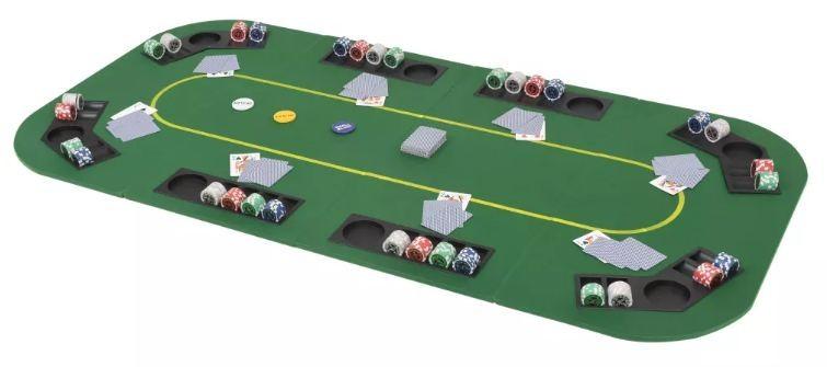 tapis de jeu de poker rectangulaire 8 joueurs vert winner