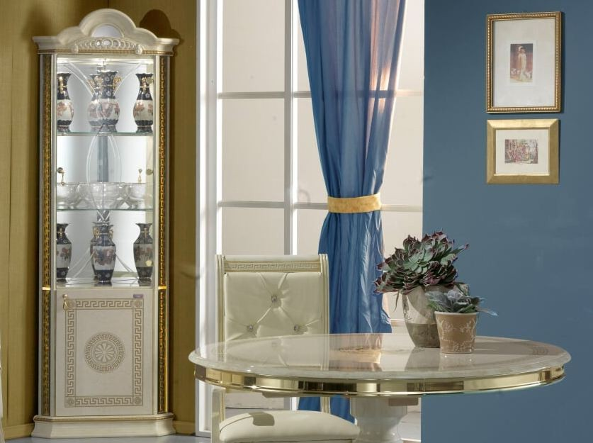 vitrine d angle 2 portes bois brillant beige et dore venus