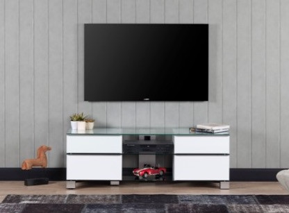 meuble tv mood 9240 verre trempe et laque blanc 140 cm