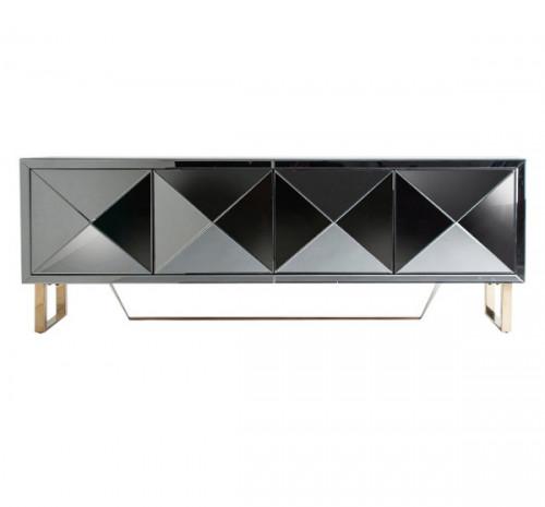 meuble tv 4 portes miroir argente barnes