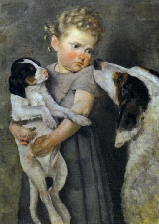 Achille Glisenti, Bambina con cani 1875 BERNINI