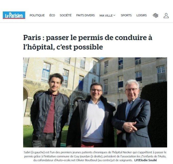 «Le Permis de Conduire à l'Hôpital» à l'honneur dans   Le Parisien