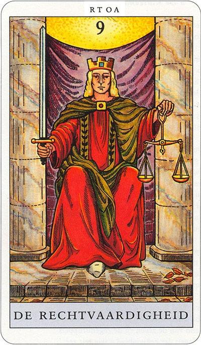Tarotkaart 11 De Rechtvaardigheid 9 grote Arcana De Tarot in de herstelde orde