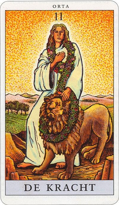 Tarotkaart 13 De Kracht 11 grote Arcana De Tarot in de herstelde orde