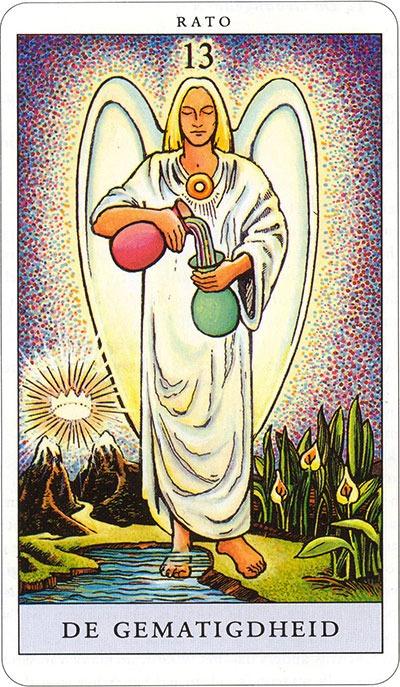 Tarotkaart 15 De Gematigdheid 13 grote Arcana De Tarot in de herstelde orde