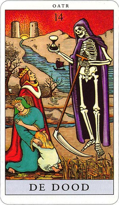 Tarotkaart 16 De Dood 14 grote Arcana De Tarot in de herstelde orde