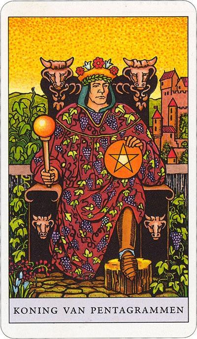 Tarotkaart 25 Pentagrammen Koning Hofkaart Munten Pentakels of Schijven