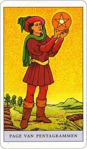 Tarotkaart 28 Pentagrammen Page Schildknaap Hofkaart Munten Pentakels of Schijven