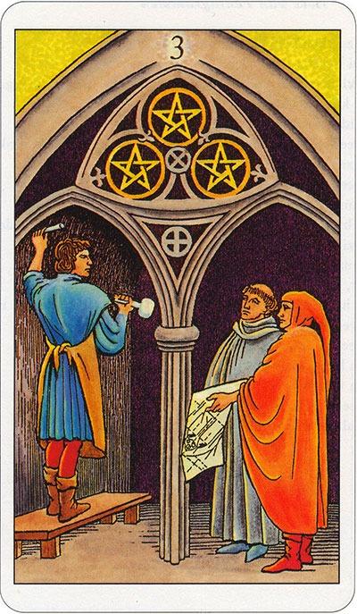 Tarotkaart 31 Pentagrammen 3 Drie Munten Pentakels of Schijven