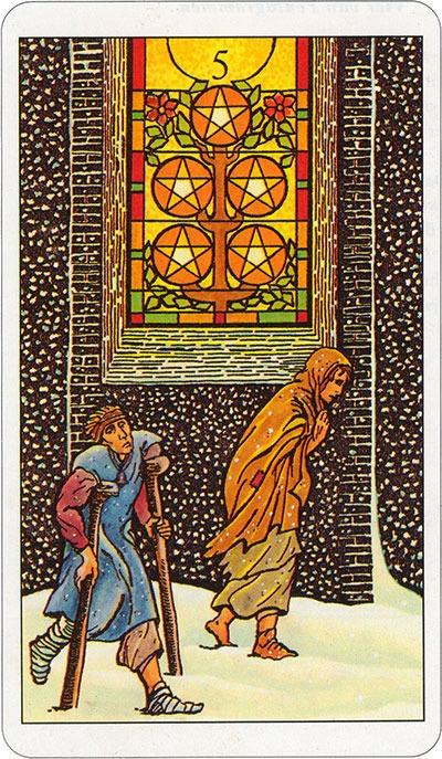 Tarotkaart 33 Pentagrammen 5 Vijf Munten Pentakels of Schijven