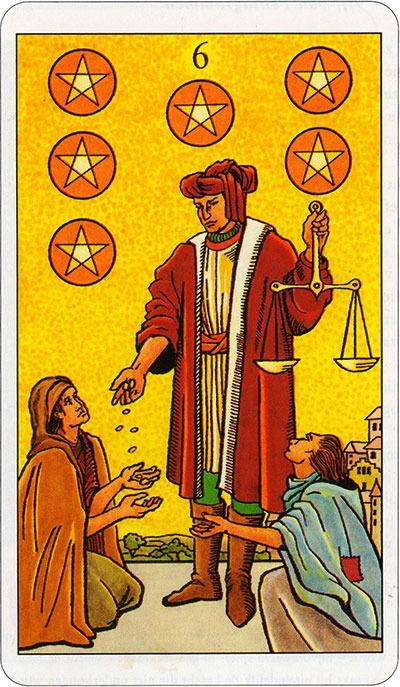 Tarotkaart 34 Pentagrammen 6 Zes Munten Pentakels of Schijven
