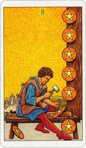 Tarotkaart 36 Pentagrammen 8 Acht Munten Pentakels of Schijven