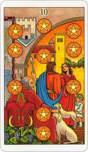 Tarotkaart 38 Pentagrammen 10 Tien Munten Pentakels of Schijven