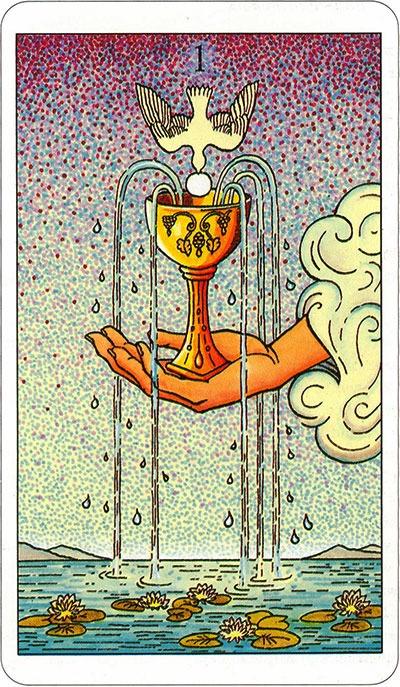 Tarotkaart 57 Bekers 1 | Aas Een