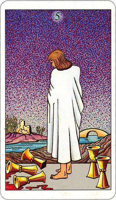 Tarotkaart 61 Bekers 5 Vijf