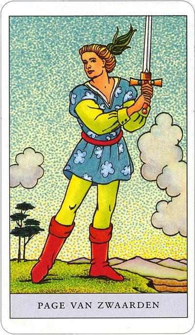 Tarotkaart 70 Zwaarden Page | knaap