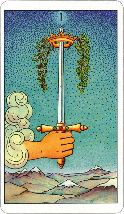 Tarotkaart 71 Zwaarden aas 1 Een