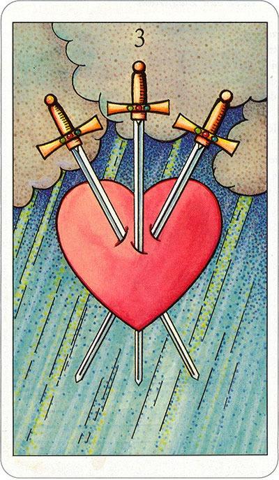 Tarotkaart 73 Zwaarden 3 Drie