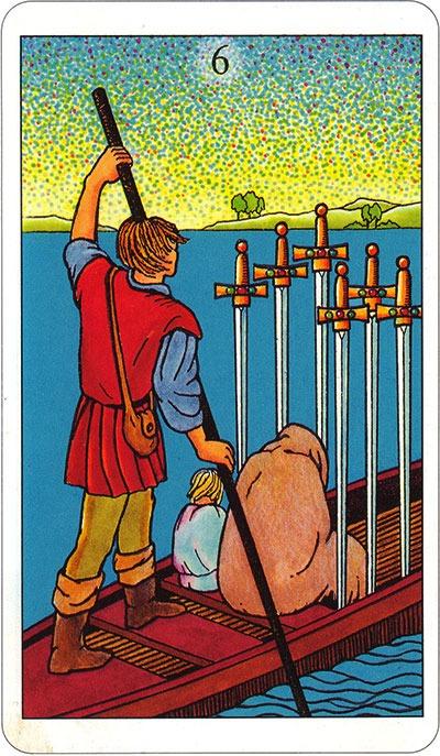 Tarotkaart 76 Zwaarden 6 Zes