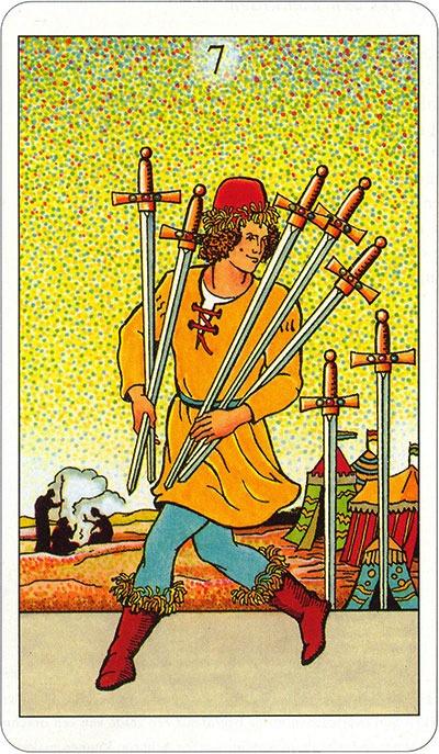 Tarotkaart 77 Zwaarden7 Zeven
