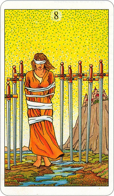 Tarotkaart 78 Zwaarden 8 Acht