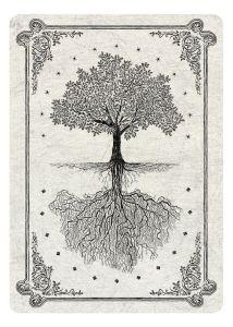 achterkant tarotkaart wit met boom