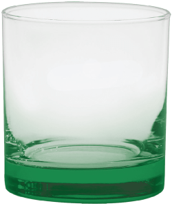 11 oz. Executive Old Fashion - Custom Glow® Bottom Spray - Green