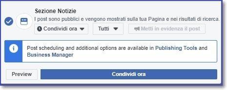 creare i post facebook dalla bacheca delle pagine, non è più possibile