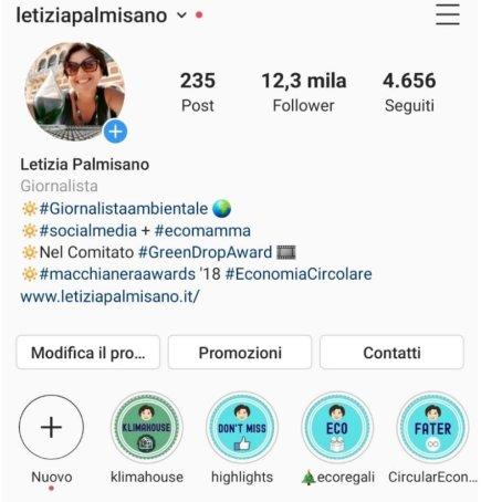 profilo instagram personalizzato con copertine stories