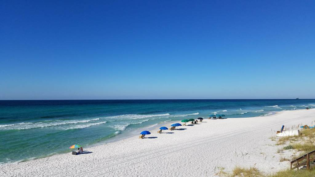 Seagrove Beach chairs and umbrellas