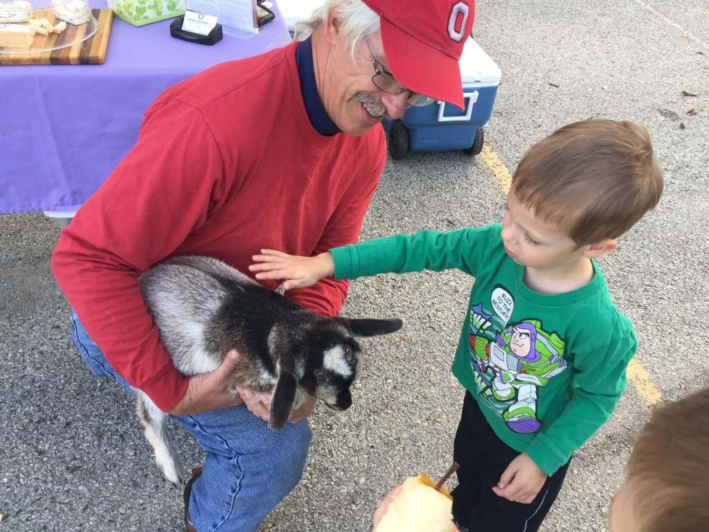 Boy petting goat at farmers market