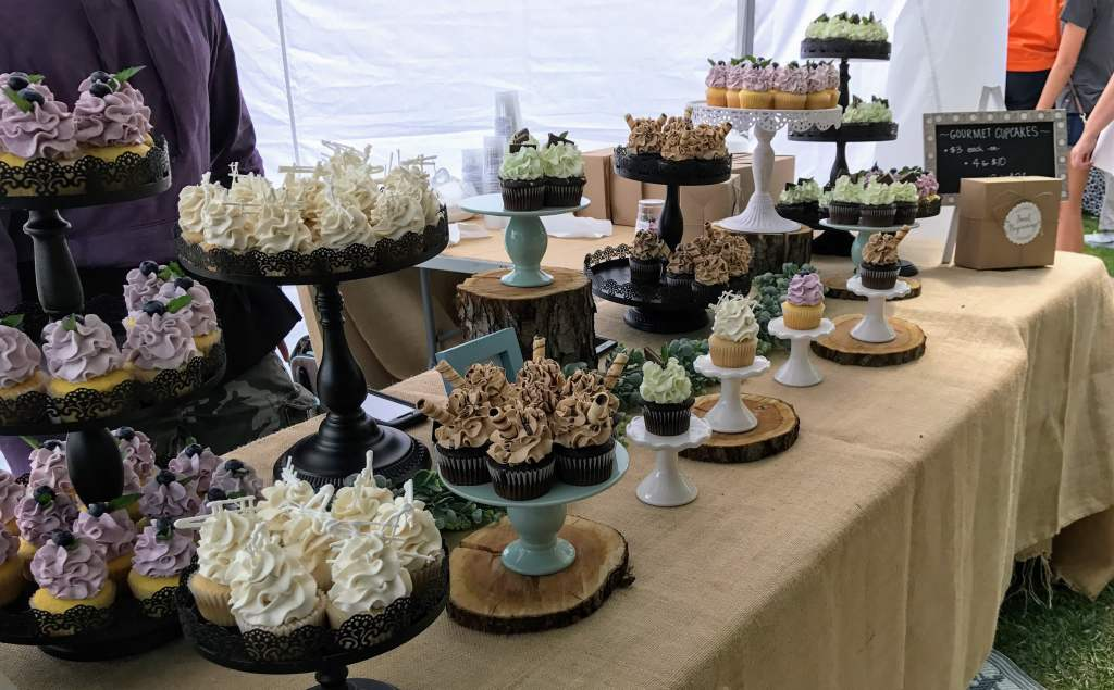South Haven with Kids - cupcake table at farmer's market