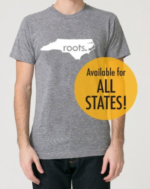 Home State Gifts - Roots T-shirt from Etsy Seller SevenMilesPerSecond