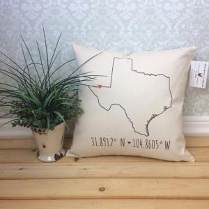 Home State Gifts - State Coordinates Pillow from Etsy Seller henhouseoriginals